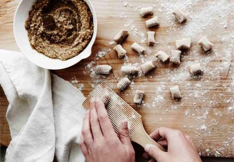 Sweet Potato Gnocchi With Walnut Pesto & Sage