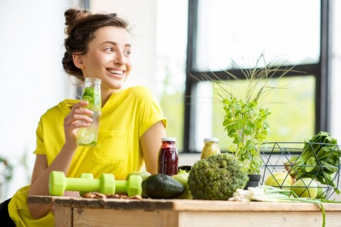 woman-with-healthy-food-indoors-picture-id669861852