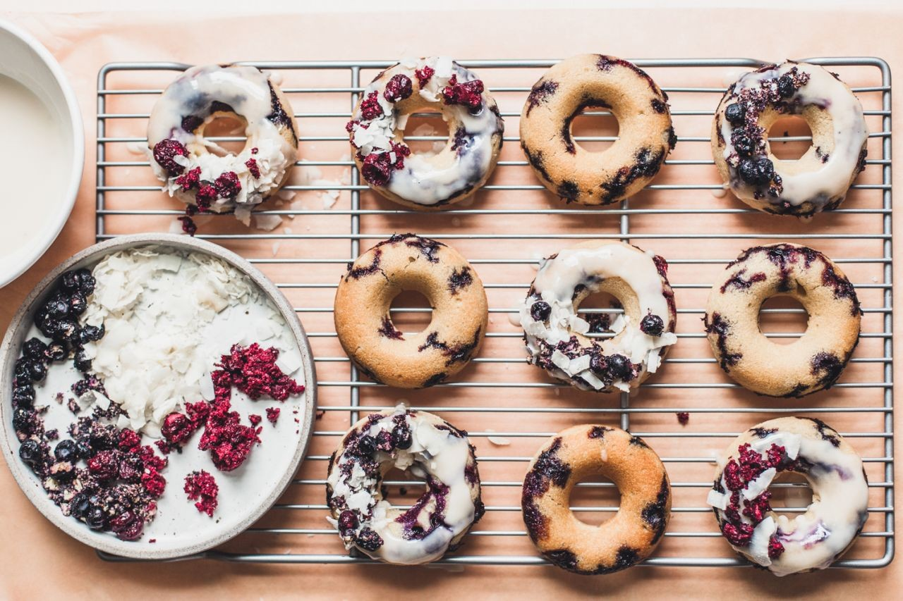 Gluten-Free Lemon Blueberry Donuts with a Coconut Glaze