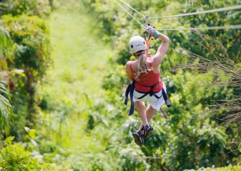 woman-going-on-a-jungle-zipline-adventure-picture-id464837730