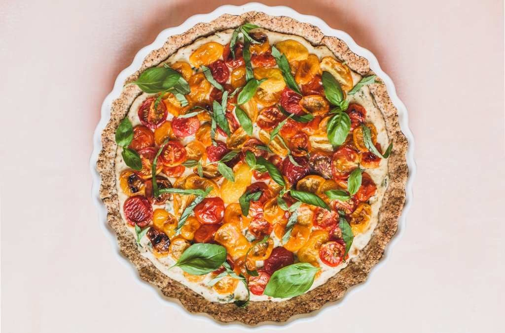 Grain-Free Tomato Tart with Cauliflower Ricotta