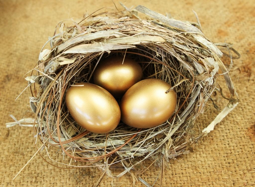 straw-nest-with-3-golden-eggs-inside-picture-id184133490