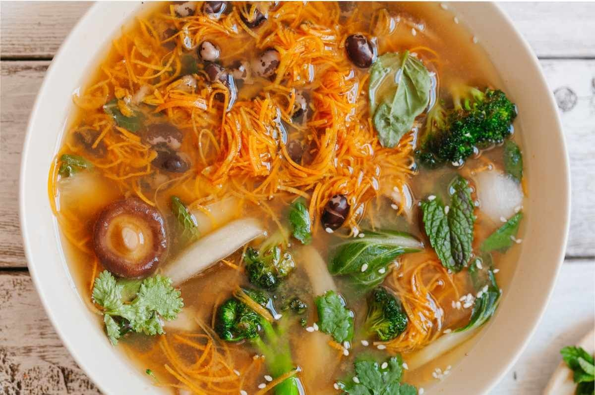Vegetarian Spring Pho with Sweet Potato Noodles and Heirloom Beans