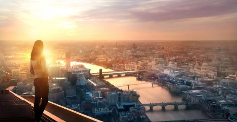young-woman-looking-over-the-city-of-london-at-sunset-future-new-picture-id1093309492