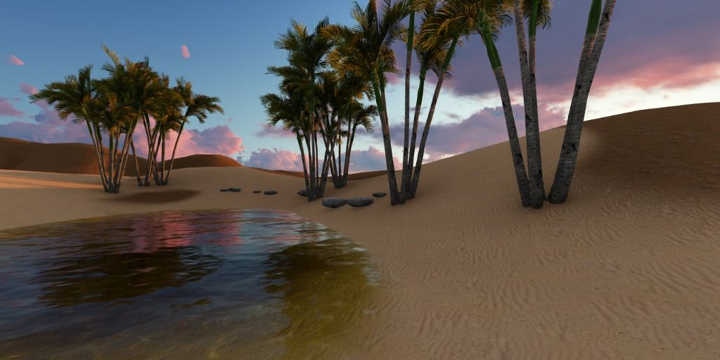 3d-rendering-oasis-in-the-desert-picture-id942230430