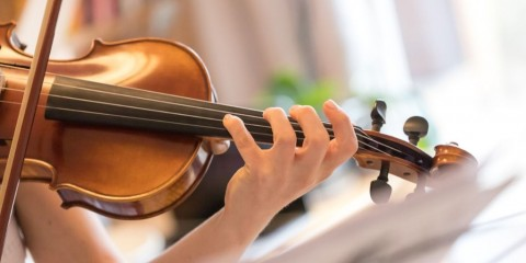 young-girl-happily-plays-on-her-violin-picture-id1130099326