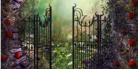 enchanting-old-garden-gate-with-ivy-and-flowers-picture-id901264936