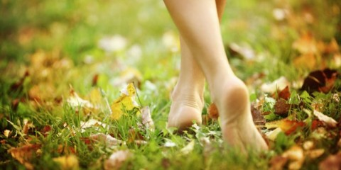 barefoot-woman-walking-in-park-picture-id187597594